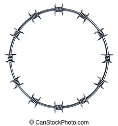 barbed wire circle-shaped 3d rendering