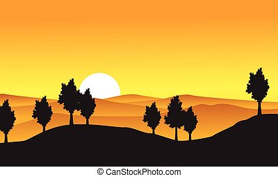 Collection of nature landscape with tree on hill