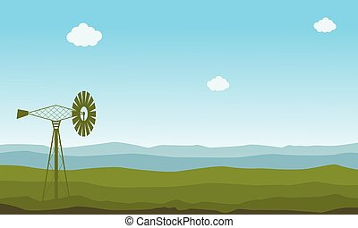 Nature landscape with windmill illustration