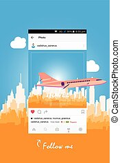 Mobile application and plane flying over the city. Flat...