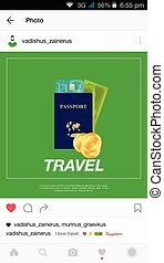Mobile application and passport with money. - Mobile...