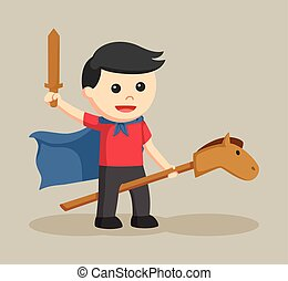 boy with horse stick and wooden sword