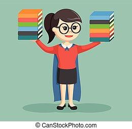 super librarian girl illustration design