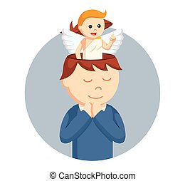 man with angel in his head