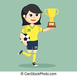 soccer ball player girl with trophy