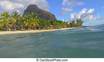 Tropical resort on Mauritius, view from water - Slow motion...