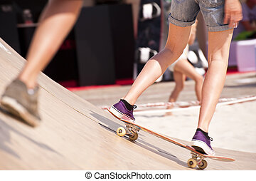 Skater on the beach of St. Peter-Ording, Germany