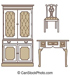 Retro, vintage furniture - Vector illustration set,...