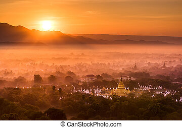 Top view from Mandalay Hills in the morning. Myanmar