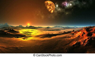 Fairytale Sunrise On An Alien Planet - In the dark starry...