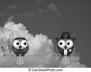 Native American and Cowboy - Monochrome Native American and...