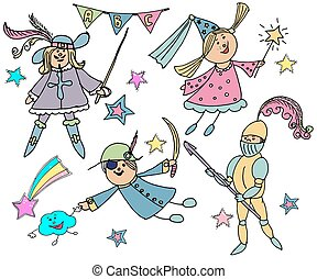 Hand drawn vector cute children. Kids in carnival costumes.