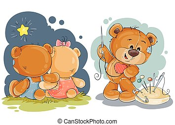 Clip art illustration for greeting card with teddy bears -...