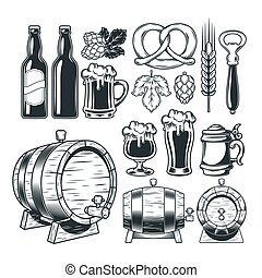 Collection retro icons of beer isolated on white.