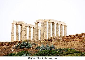 Templo, Poseidon, capa, Sounion, Atenas, Grécia