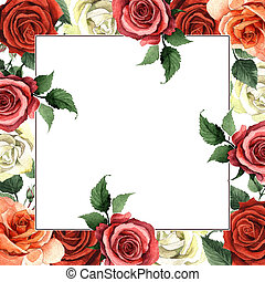 Wildflower rose flower frame in a watercolor style isolated....