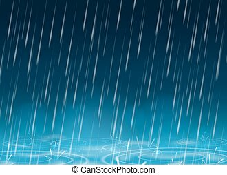 Autumn weather blue nature background with falling rain...