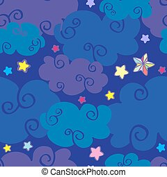 Vector cartoon clouds and stars nighttime seamless pattern....
