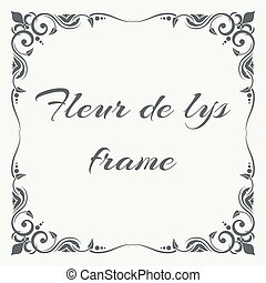 Fleur de lys ornate frame white background. Floral frame...