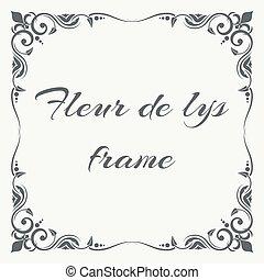 Fleur de lys ornate frame white background. Floral frame...