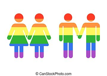 Gay LGBT rainbow icons white. Homosexual love vector...