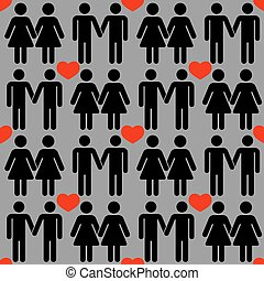 Vector gay LGBT seamless pattern. Homosexual love background...