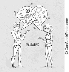 Collaboration of two people. Creative woman and man analyst. Business sketch