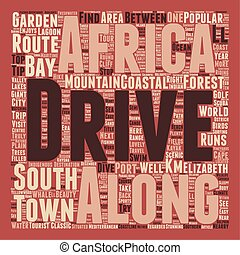 Classic Drives The Garden Route South Africa text background wordcloud concept
