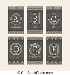 Monogram letters A to F cards - Cards set with monogram...