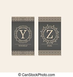 Monogram letters Y and Z cards - Cards set with monogram...