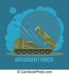 Antiaircraft force illustration - Antiaircraft force on blue...