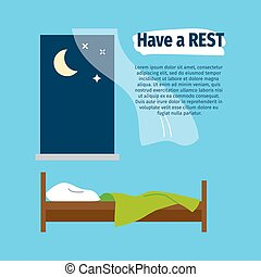 Have a rest poster with bed - Have a rest vector poster with...