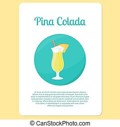 Pina Colada cocktail drink - Pina Colada cocktail menu item...