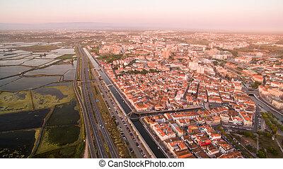 aéreo,  PORTUGAL, pôr do sol,  pamoramic,  aveiro, vista
