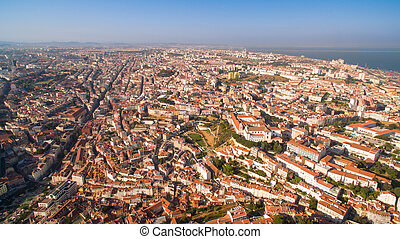 Panorama of Lisbon from the height at evening Portugal -...