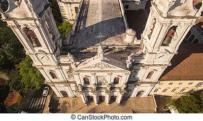 Main facade of the Estrela Basilica in Lisbon at morning...