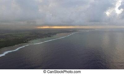 Mauritius and blue ocean, aerial scene