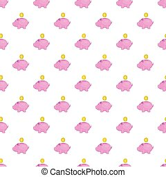 Piggy bank with coin pattern, cartoon style