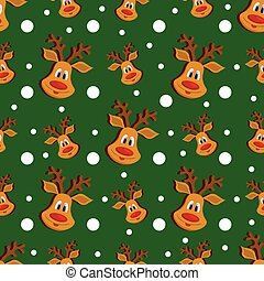 Seamless Christmas pattern with deer and snowflakes on green background.