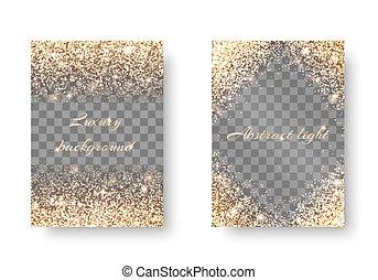 Set golden light transparent background - Glitter background...