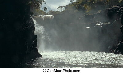 Nature scene with waterfall - Slow motion shot of strong...