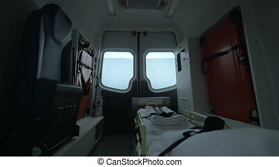 View inside of driving empty ambulance car. Ready for using...