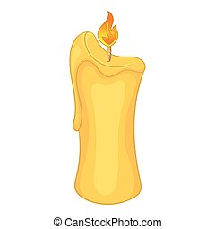 Paraffin candle icon, cartoon style - Paraffin candle icon....