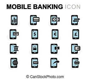 Vector flat mobile banking icons set on white background