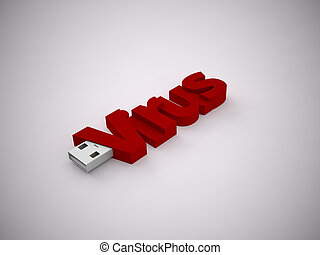USB - a 3d rendering usb stick on a grey background