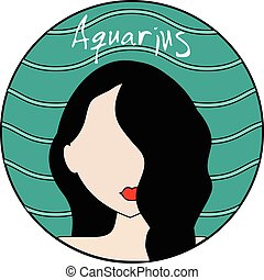 Aquarius zodiac sign. Female avatar