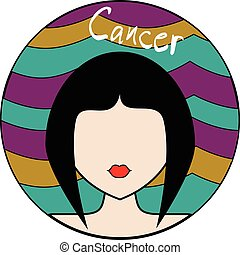 Cancer zodiac sign. Female avatar