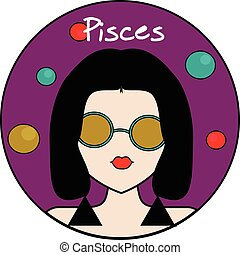 Pisces zodiac sign, female avatar