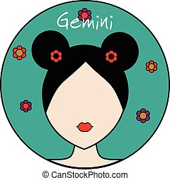 Gemini zodiac sign. Female avatar