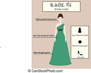 Woman dress code infographic. Black tie. Female in evening...